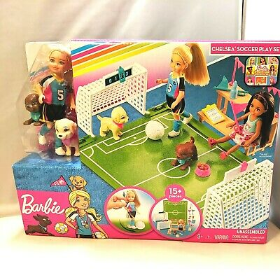 Barbie Dreamhouse Adventures Chelsea Doll And Pups With Soccer Play Set NEW