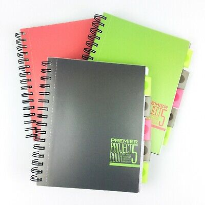 A5 Project Book 5 Subjects Parts Dividers 250 Feint Ruled Margin Punched Pages