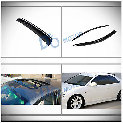 3pcs Vent Shade Window Visors+Sun/Moon Roof Shield Fit 01-05 Civic 2-Door (Moon Coupe)