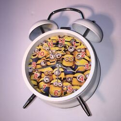 DESPICABLE ME 2 LENTICULAR TWIN BELL ALARM CLOCK MINIONS 4 DIAL w/ SECONDS hand