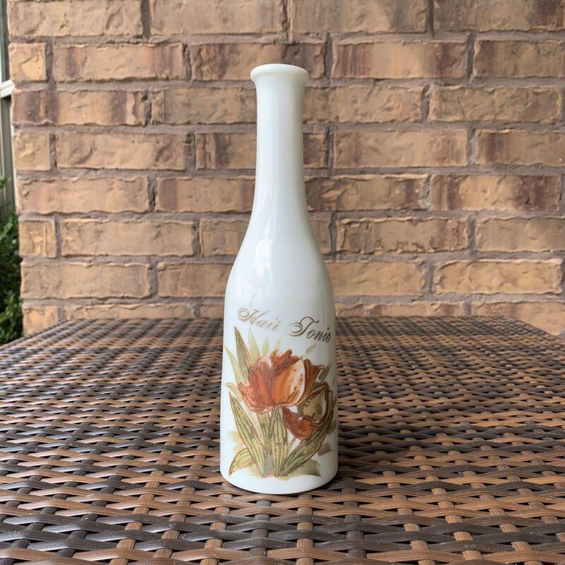 "Victorian Hair Tonic Barber Bottle Milk Glass Bay Rum?    9.5"" E.W Inc"