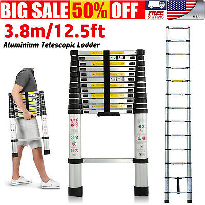 En131 12.5ft 3.8m Telescoping Extension Telescopic Extendable Expanding Ladder