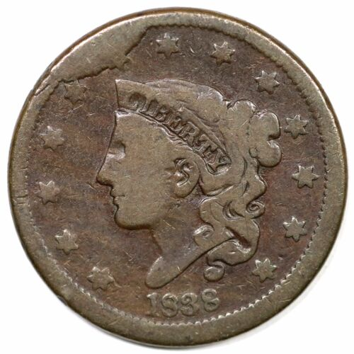 1838 N-14 R-7 Tds Matron Or Coronet Head Large Cent Coin 1c