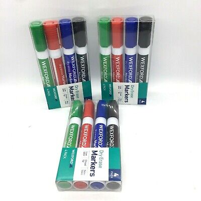Dry Erase Markers Wexford 4 Colors Chisel Tip Green Red Blue Black Lot Of 3