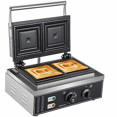 110v 1500w 2-slice Commercial Electric Sandwich Machine Sandwich Maker Grill
