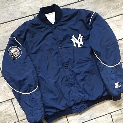 1990's Vintage Starter MLB New York Yankees Bomber Jacket Blue Sz. Large Blue