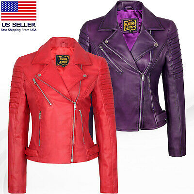 Women's Motorcycle Biker Real Leather Jacket Lambskin Leather Top Slim fit S-3XL Fitted Leather Jacket