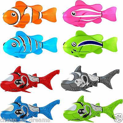 Robo Fish Water Activated Battery Powered Robofish Clownfish & Sharks Bath Toys