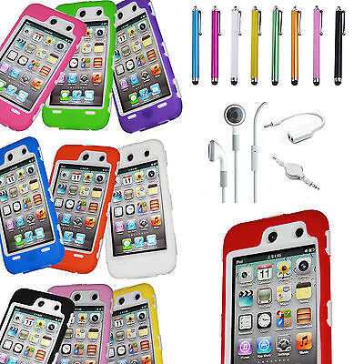DELUXE 3PIECE HARD CASE COVER SKIN FOR IPOD TOUCH 4 4G 4TH GEN+PROTECTOR+STYLUS on Rummage