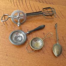 Vintage hand beater and 3 tea strainers Hallett Cove Marion Area Preview