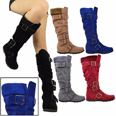 Women Boots Knee High Mid Calf Military Flat Adjustable Straps Suede Comfort