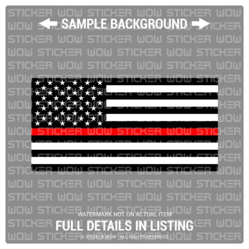 Decal Sticker Vinyl - Flag American BLACK WHITE (x2) 4x2 - Fire Fighter Red Line