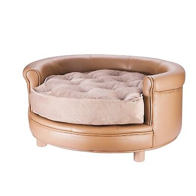 Chesterfield Faux Leather Large Dog Bed Designer Pet Sofa By Villacera Tan