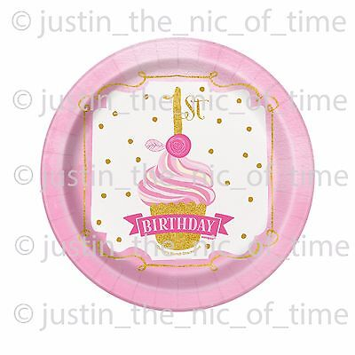 First 1st Birthday Girls Pink u0026 Gold Party Supplies Tableware u0026 Decorations  sc 1 st  eBay & First 1st Birthday Girls Pink u0026 Gold Party Supplies Tableware ...