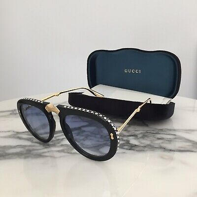 100%Auth GUCCI Sunglasses GG0307S Gold Black Light Blue Crystal Foldable (Gucci Light Blue)
