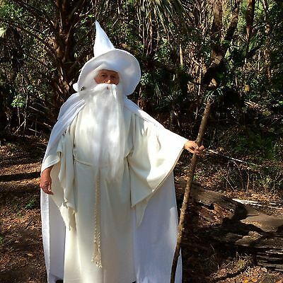 Merlin Gandalf the white Costume Cape Robe Belt Hat Wig Beard Wizard Halloween - White Wizard Robe