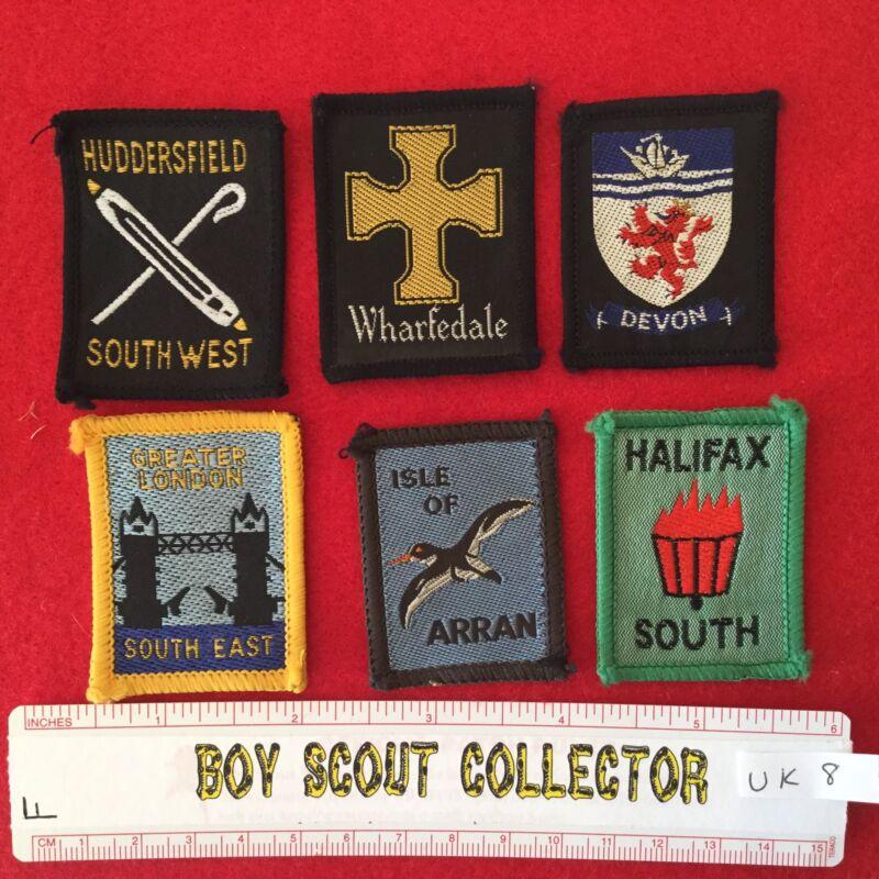 Boy Scout UK British District Badges Six Different Lot # UK8