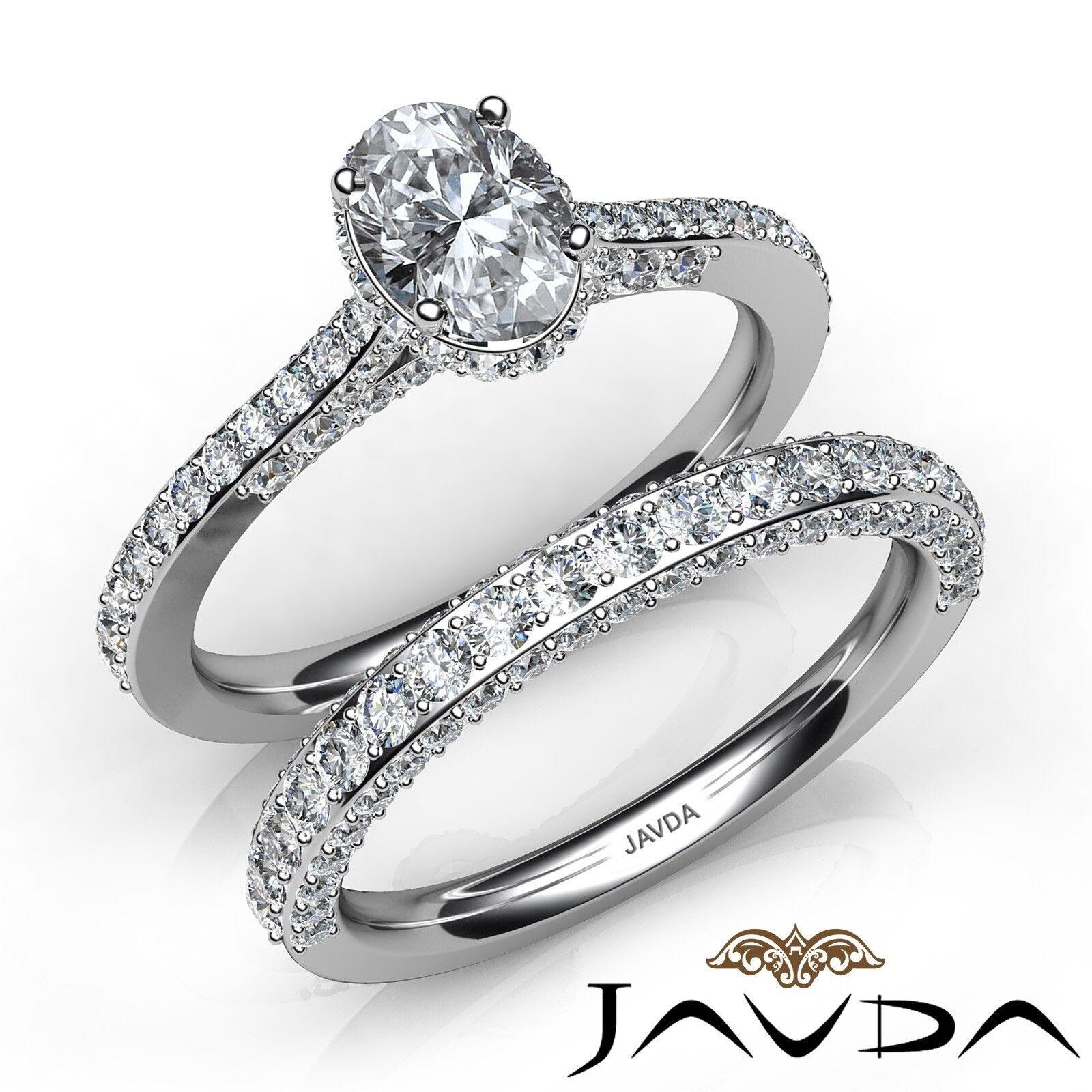 2.46ctw Circa Halo Bridal Set Pave Oval Diamond Engagement Ring GIA H-VS1 W Gold