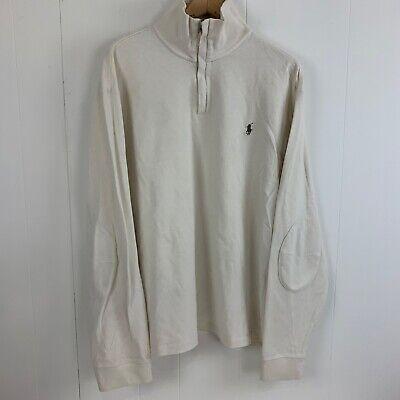 Mens POLO RALPH LAUREN Full Zip Cream Logo Sweater Size XXL 2XL Elbow Patches