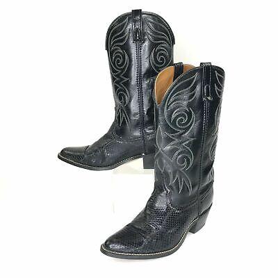 Acme Mens Boots Rio Grande Western Cowboy Snakeskin Leather Vintage Black 11 D