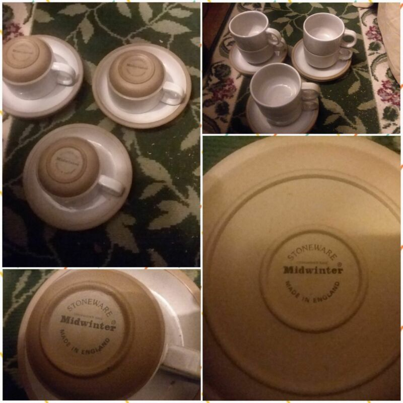 (6) sets Midwinter Natural stacking Cup & Saucer Wedgwood England Stoneware