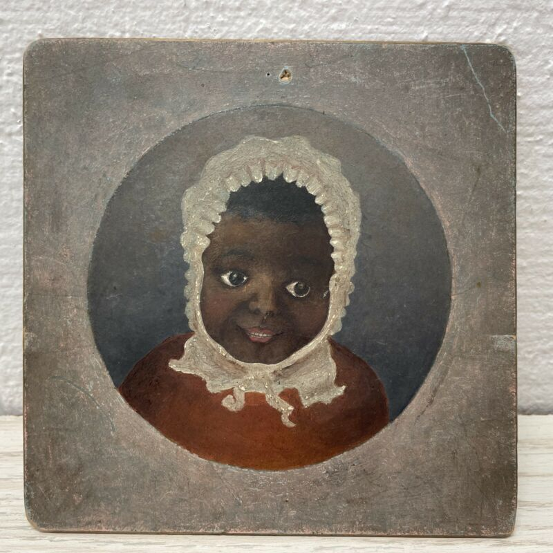 Vintage 1913 Portrait Painting of African American Baby Child 5x5 Christmas Gift