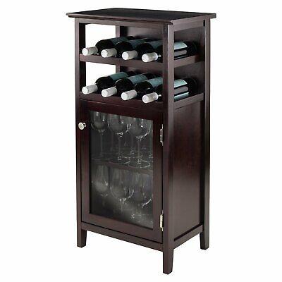 Wine Cabinet Rack Storage Display Stemware Bottle Holder Home Bar Furniture Wood