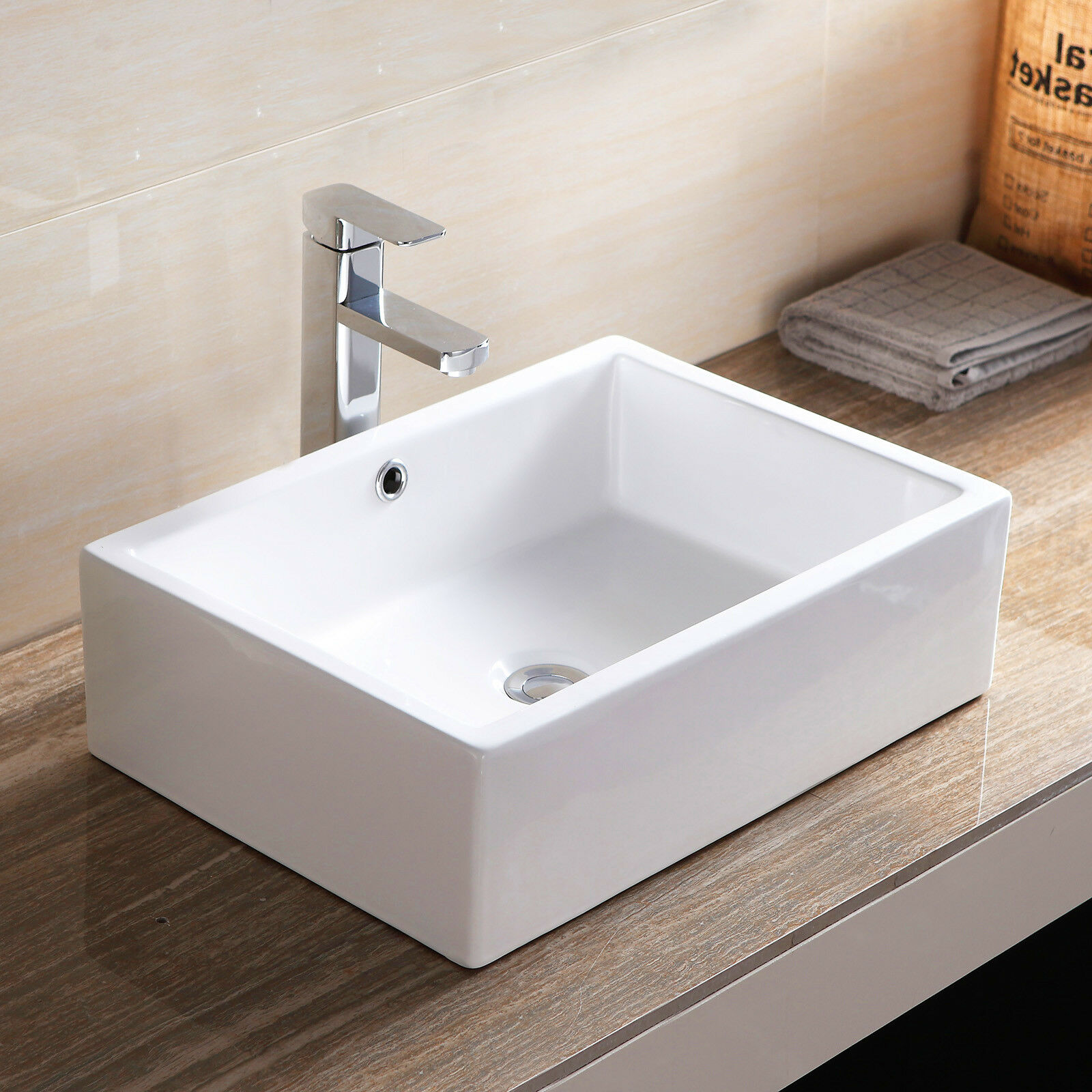 Bathroom Rectangle Porcelain Ceramic Vessel Sink Basin Bowl Faucet Popup  Drain