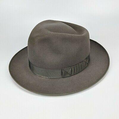 1950s Mens Hats | 50s Vintage Men's Hats Penny's Marathon Fedora 7-1/8 - vintage 50s water repellant gray grey shark gill $139.95 AT vintagedancer.com