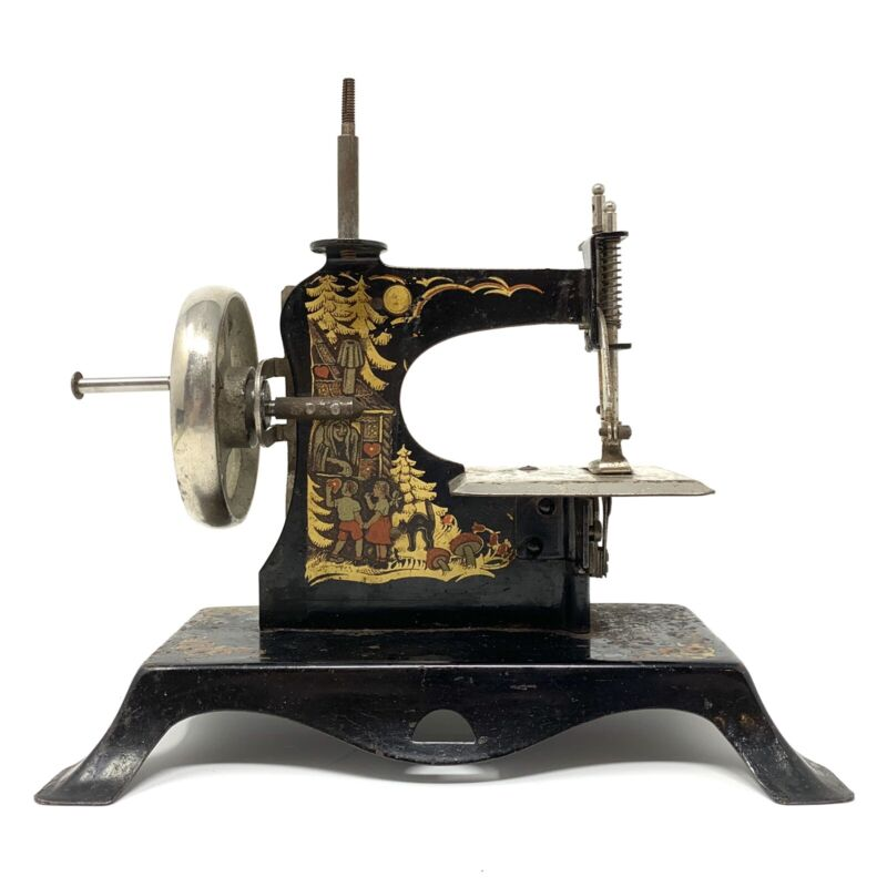 Antique Black Toy Hand Crank Sewing Machine Made In Germany