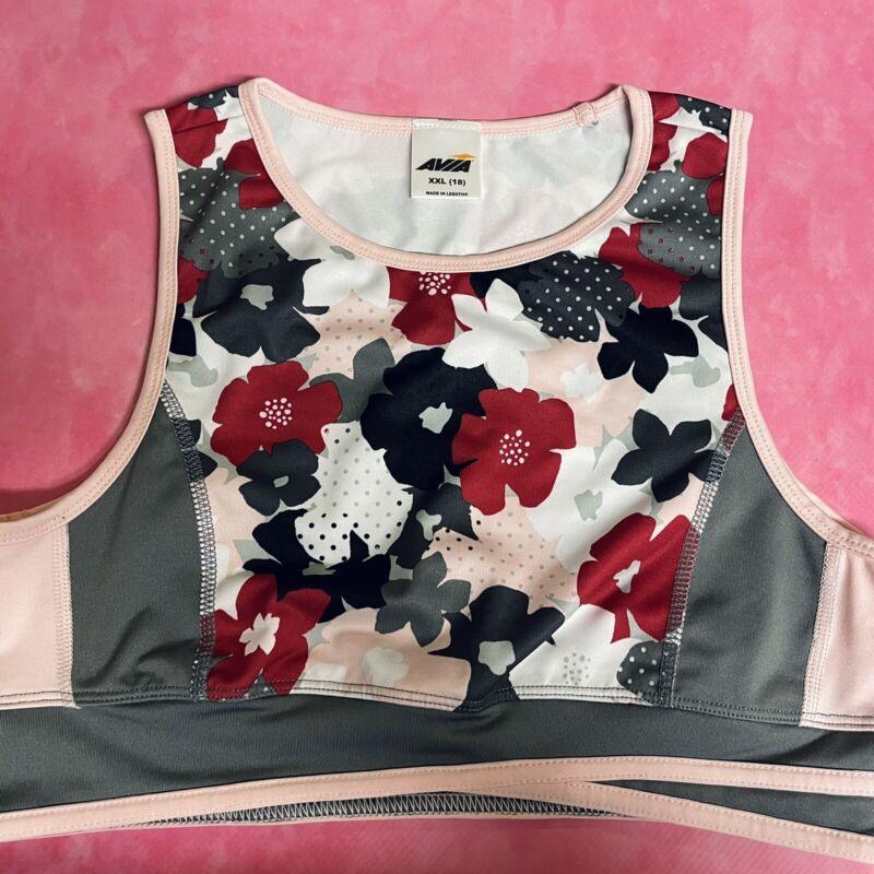AVIA Sports Bra Wireless Pink Geometric Floral Athletic Gym Youth Girl