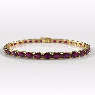 """Gold over Solid Sterling Silver AAA Ruby 18ct Tennis Bracelet 7.5"""" Red Yellow"""