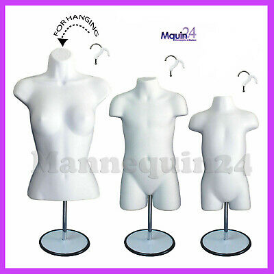 3 Mannequins-female Child Toddler Body Forms In White 3 Stands 3 Hangers