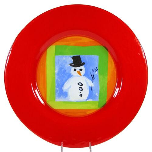 "Dibbern SNOWMAN 8.25"" Dessert Salad Glass Plate Christmas Red Germany"