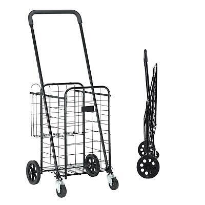 Utility Shopping Cart Foldable Jumbo Basket Outdoor Grocery Laundry Black