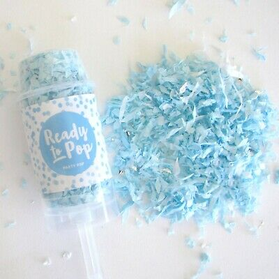 Party Pop Confetti Poppers - Blue Boy Gender Reveal, Surprise, Baby - Blue Confetti Poppers