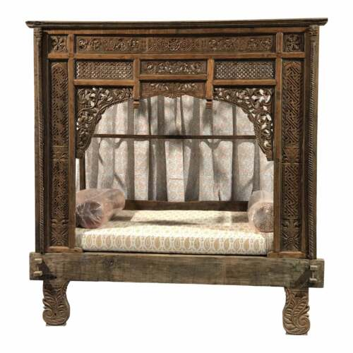 Antique Balinese Indian Boho Chic Teakwood Canopy Daybed in Elizabeth Eakins Fab