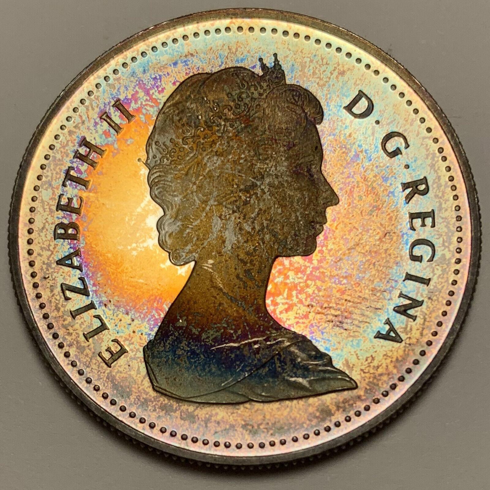1984 CANADA SILVER DOLLAR PROOF COLOR UNC BU WONDERFUL TONED NEON RAINBOW DR  - $24.99