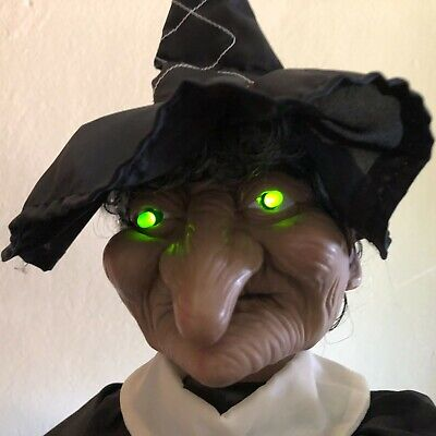 """Vintage 24"""" Animated Witch Green Eyes Ghostly Sounds w/Box Halloween Gemmy"""