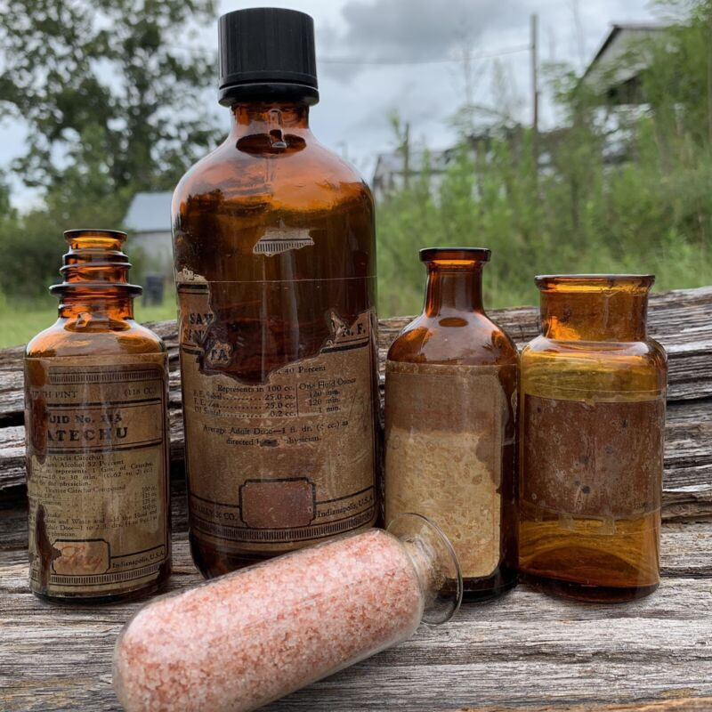 Lot Of 5 Vintage Apothecary Bottles 1900