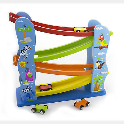 Wooden Childrens Toy Zig Zag Car Run Slider Click Clack Kids Race Track #51023