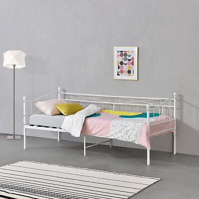 en.casa Metall Tagesbett 90x200cm Bett Gestell Schlafzimmerbett Einzelbett Weiß