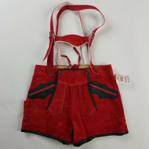 Chemische Reinigung Child Lederhosen Shorts Red Green Sz 98 / 4T NWT