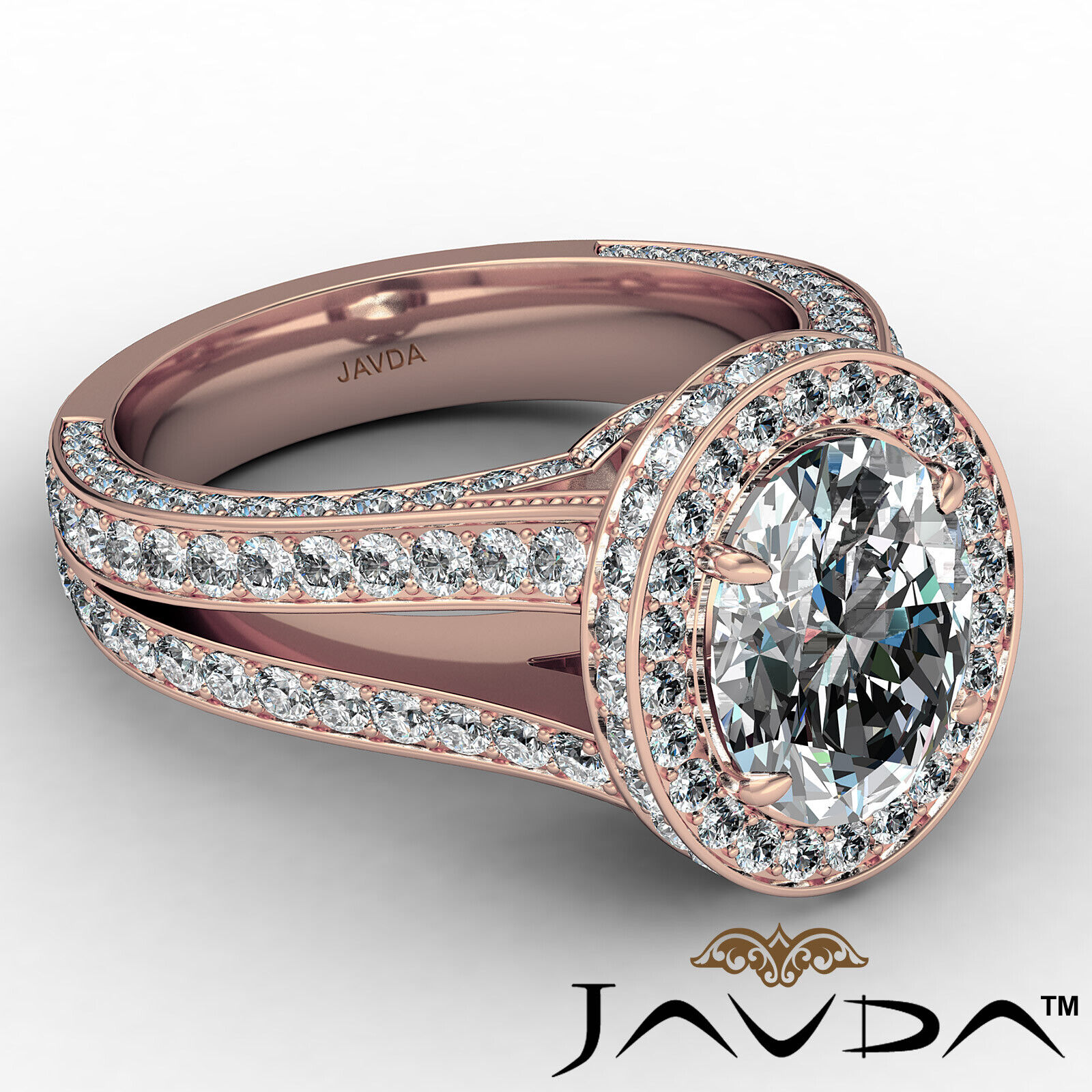 Halo Oval Diamond Engagement Ring GIA Certified F Color & SI1 clarity 2.31 ctw 8