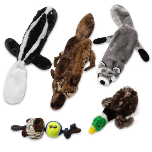 5 Plush No Stuffing Dog Toys With Squeakers-Ideal Puppy Toys for Teething Dogs