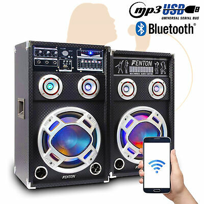 PA Active Bluetooth Party Speakers with Karaoke Party Lights USB SD MP3 400W