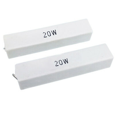 Us Stock 2pcs 100k Ohm 100kj 20 Watt Axial Ceramic Cement Power Resistor 20w