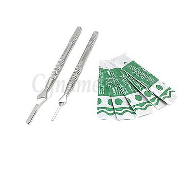 2 Aesthetic Round Scalpel Knife Handles 3 4 50 Carbon Steel Blades 15 22