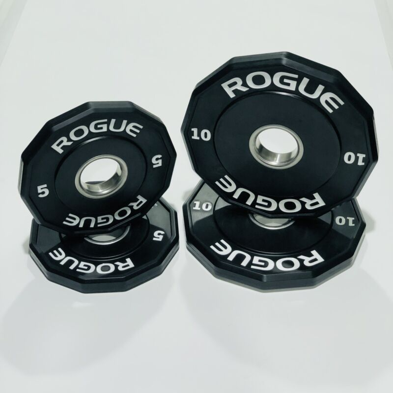 ROGUE 5 lb & 10 lb Urethane Grip Change Plates - 12 Sided (30 lbs Total)  *Used*