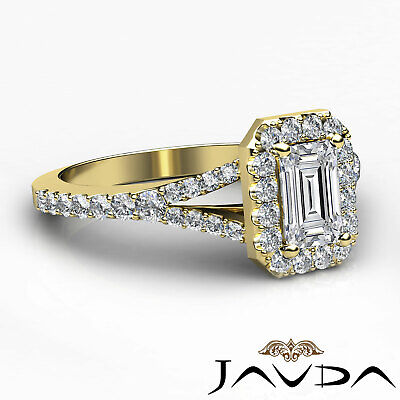 Halo Split Shank U Pave Set Emerald Shape Diamond Engagement Ring GIA H VS2 1Ct 9